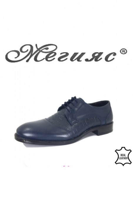 Men's elegant shoes 19003-332 blue leather