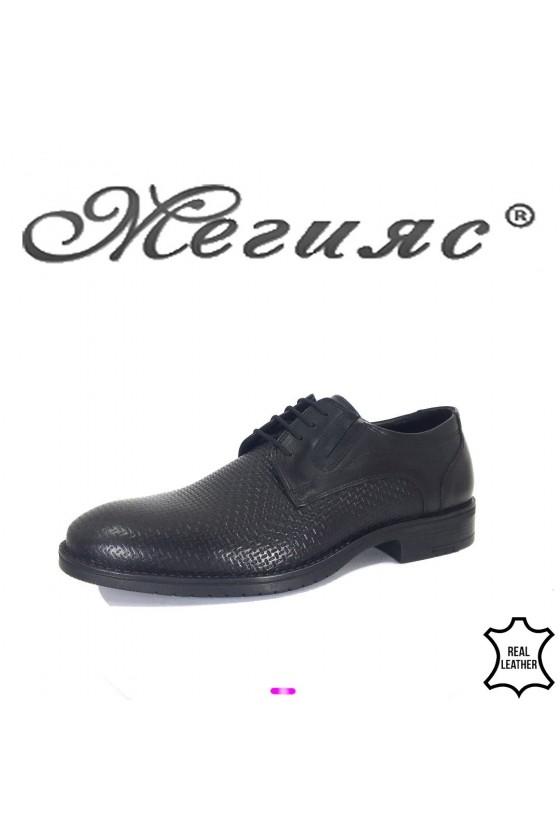 Men's elegant shoes 19100-280 black leather
