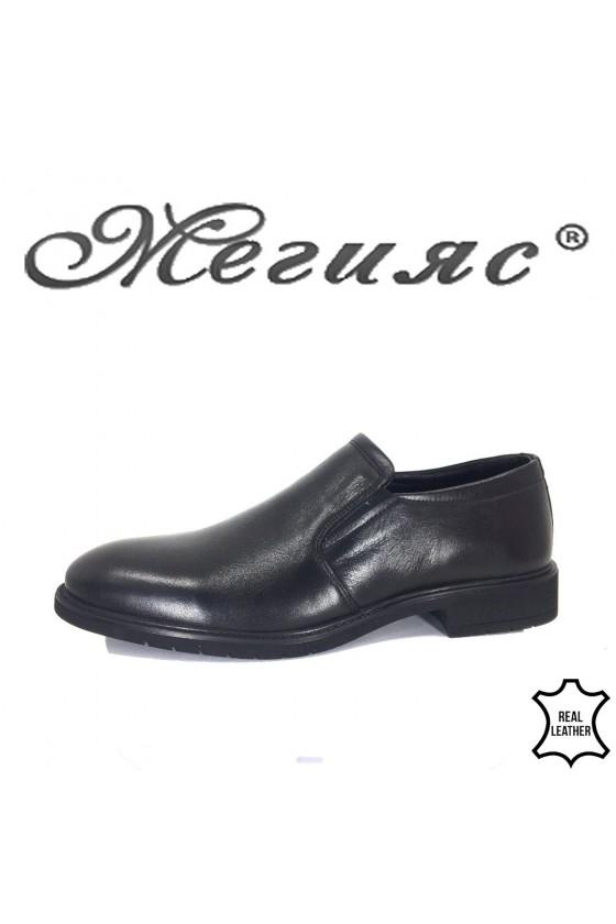 Мъжки обувки елегантни от естествена кожа черни Фантазия 19204
