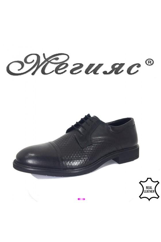 Men's elegant shoes 19206-143 black leather