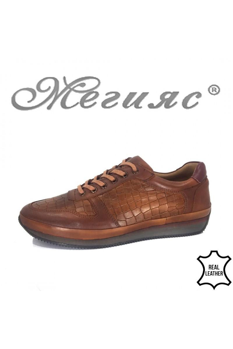 Мъжки обувки XXL 1798-377 цвят таба от естествена кожа