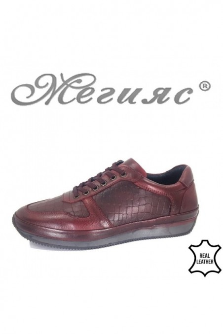 Мъжки обувки XXL 1798-377 бордо от естествена кожа