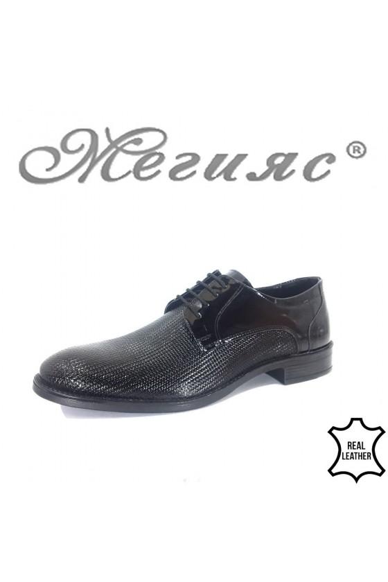 Мъжки обувки Фантазия 19000-278 лак черни от естествена кожа елегантни
