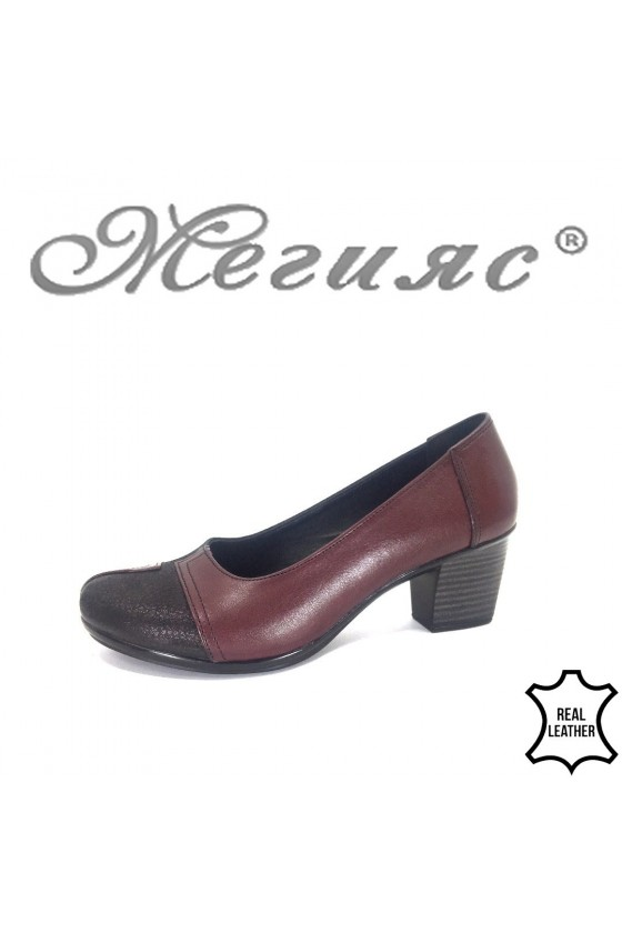 Дамски обувки 200-К бордо от естествена кожа с широк ток