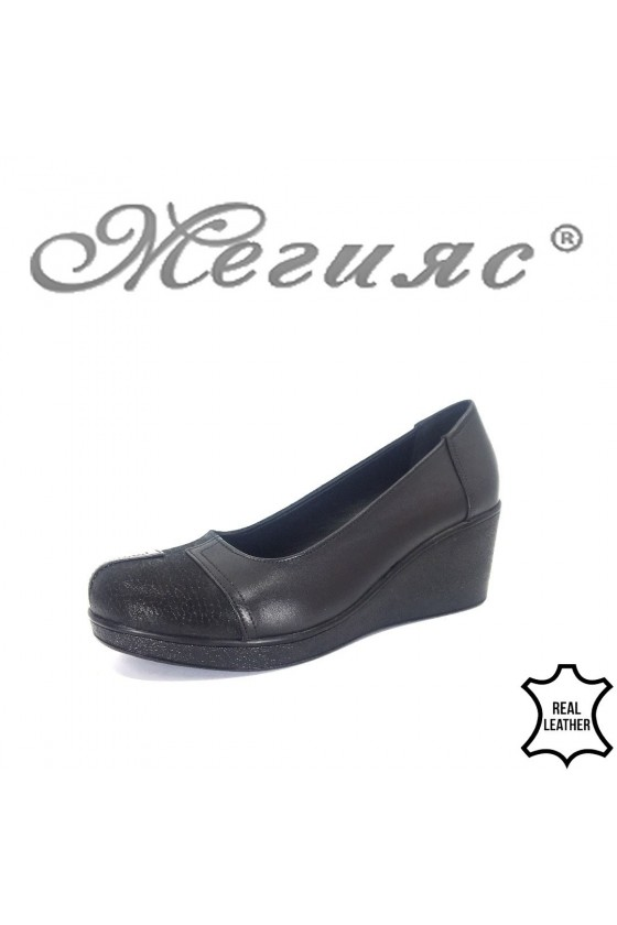 Women platform shoes 400 black leather