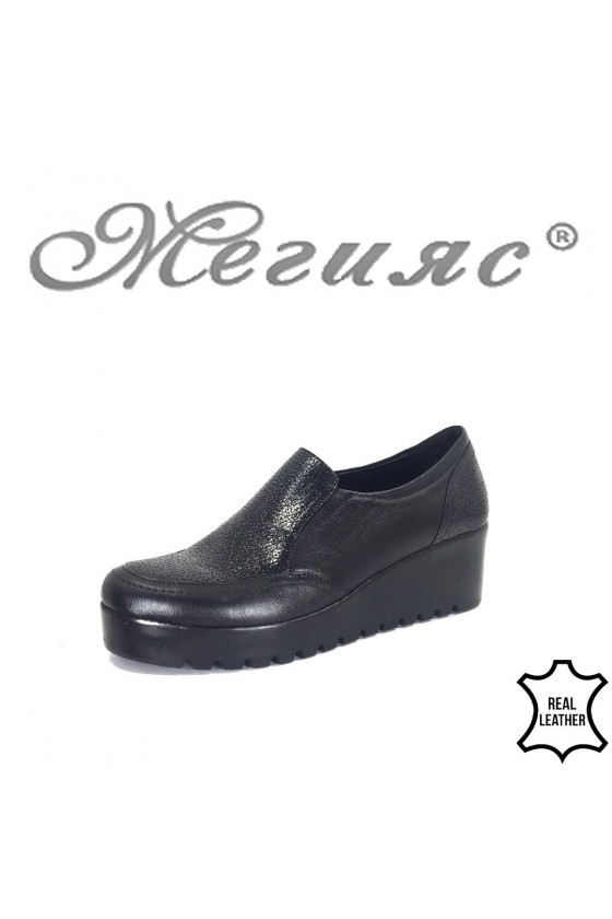 Women platform shoes 600-01-88 black leather