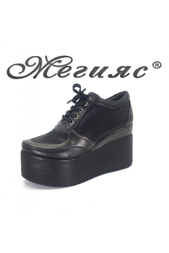 Women platform shoes 4434 black pu