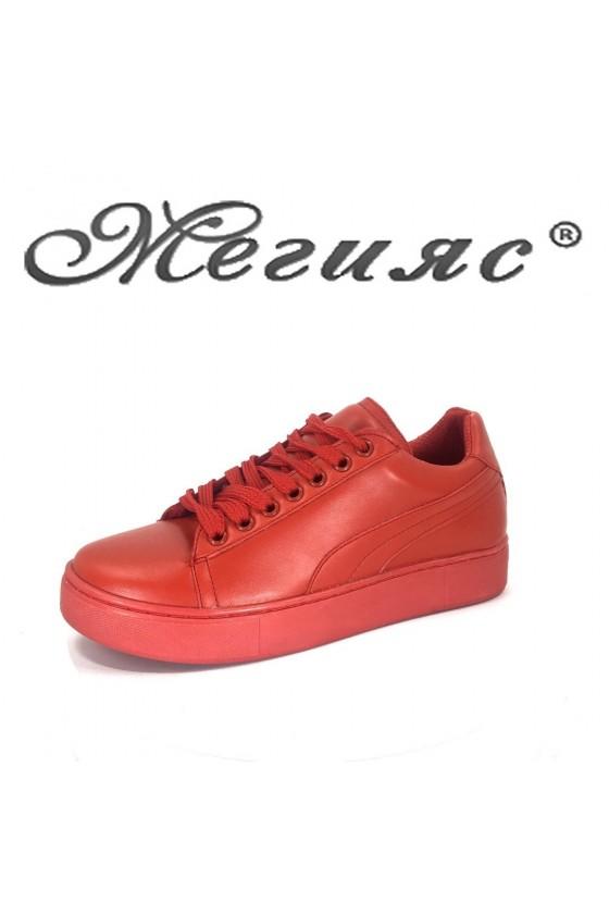Дамски спортни обувки 5512 червени от еко кожа