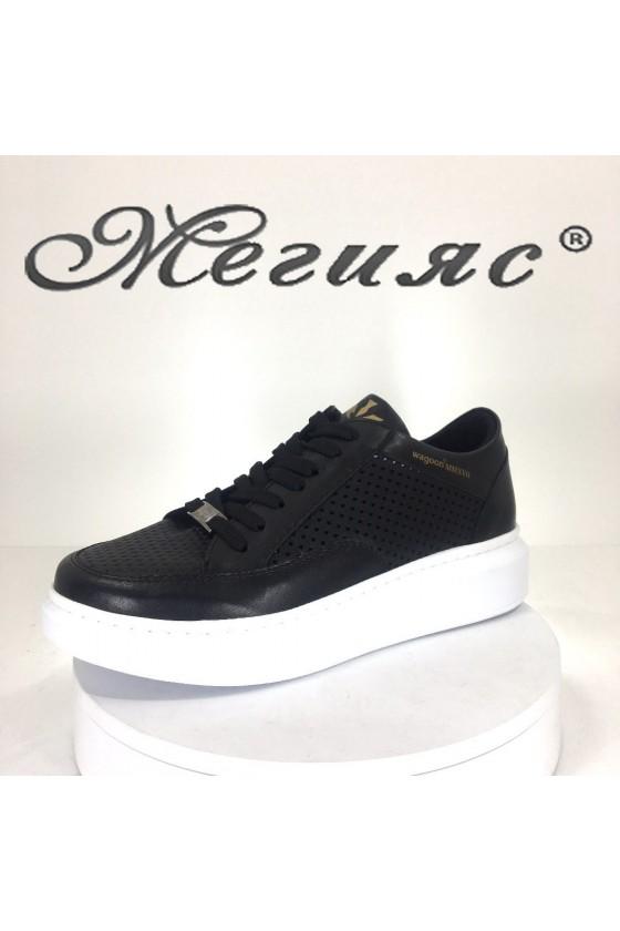 Дамски спортни обувки 5513 черни от еко кожа