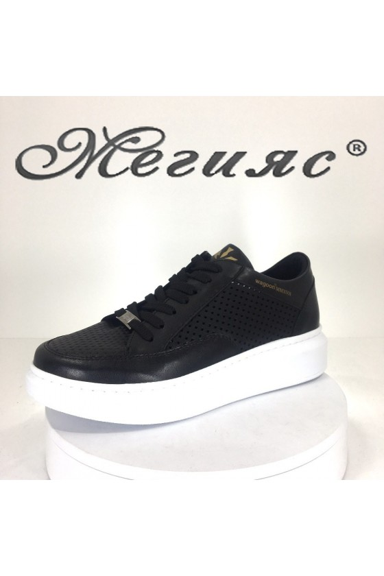 Lady sport shoes 5513 black pu
