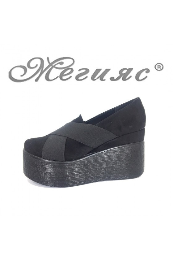 Women platform shoes 4432 black suede