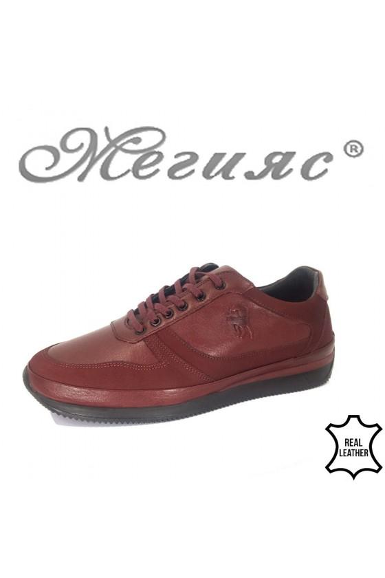 Мъжки спортни обувки 1796 бордо от естествена кожа