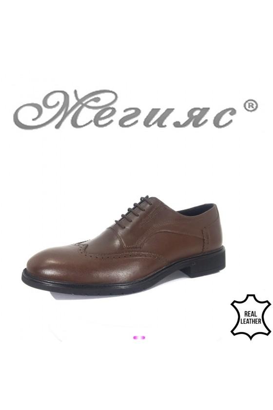 Мъжки обувки Фантазия 19201 тъмно кафяви от естествена кожа елегантни