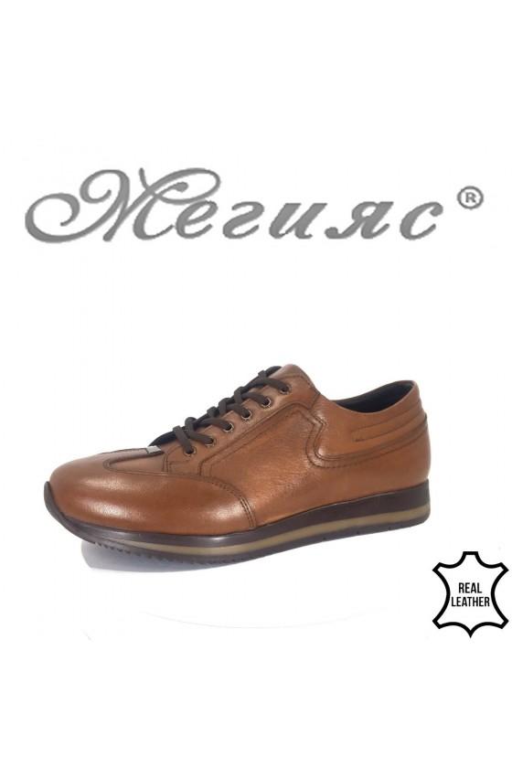 Мъжки обувки 19501 цвят таба  от естествена кожа