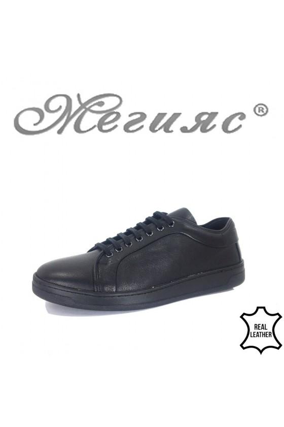 Мъжки спортни обувки 202 черни гладки естествена кожа
