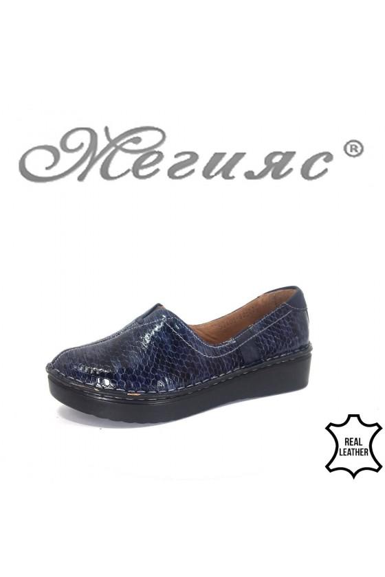 Дамски обувки XXL 53405-60 гигант сини от естествена кожа ежедневни
