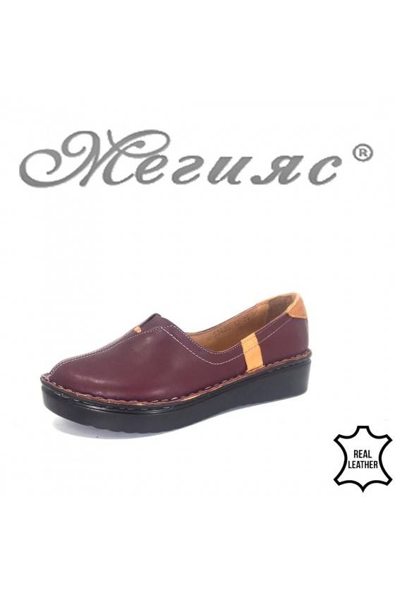Дамски обувки XXL 53405-12 гигант бордо от естествена кожа ежедневни