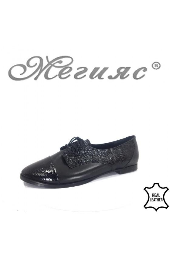 Дамски обувки XXL 201-12-1 гигант черни кожа с лак ежедневни с връзки