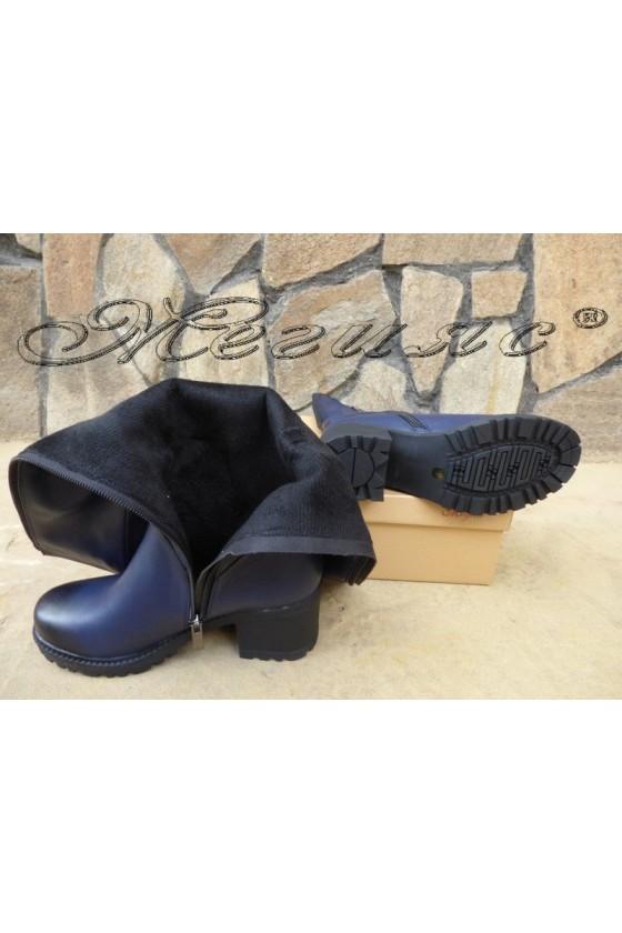 CAROL 19-1099 Дамски ботуши сини от еко кожа