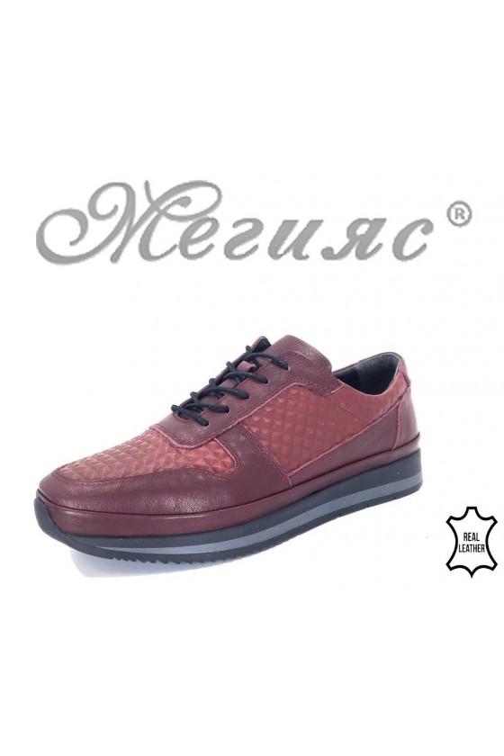 231-8313 Мъжки обувки Фантазия бордо от естествена кожа