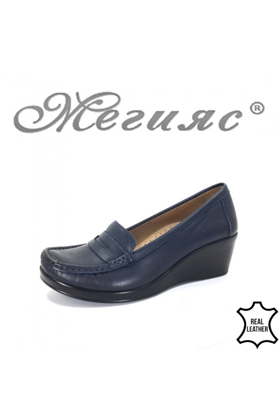 805 Дамски ортопедични обувки тип мокасини тъмно сини от естествена кожа