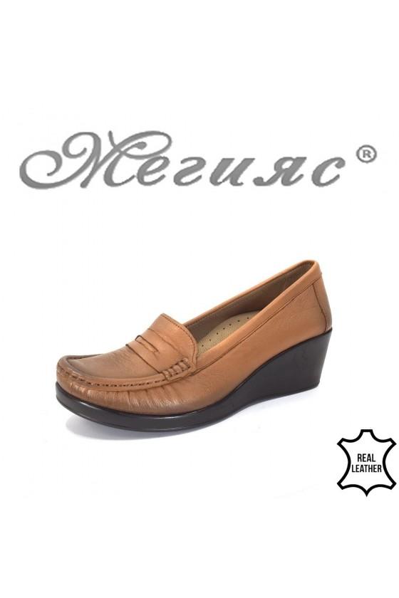 805 Дамски обувки тип мокасини таба от естествена кожа