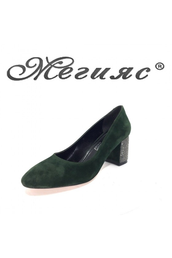 2213 Lady elegant shoes green suede with middle heel