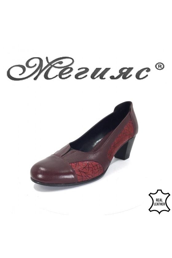 B-20  Дамски обувки  бордо  от естествена кожа с широк ток