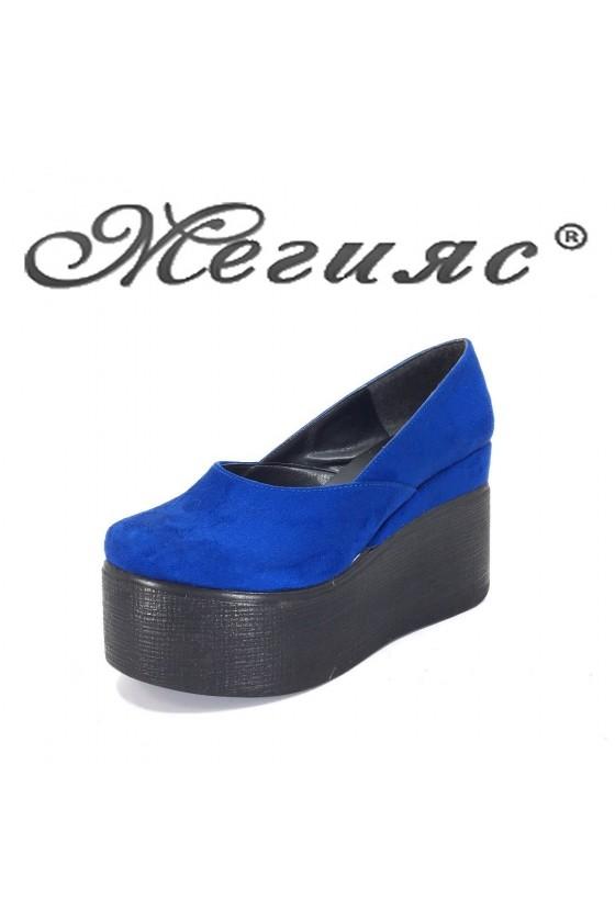 118 Дамски обувки син велур на висока платформа
