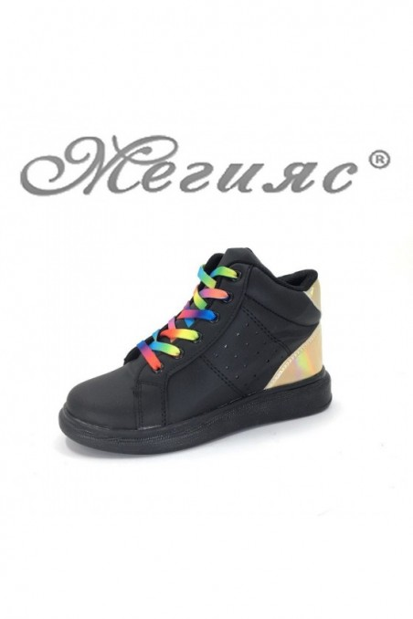 4262 Children's boots black with gold pu
