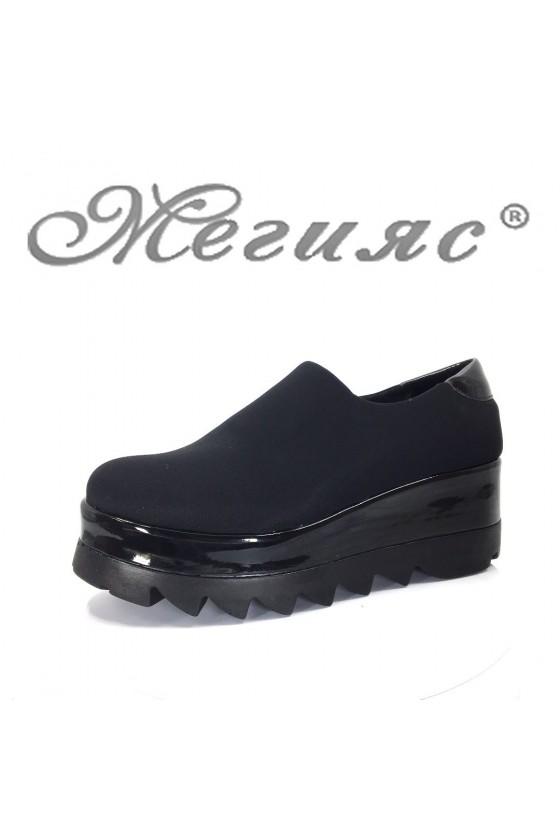 611-К Дамски обувки черни текстил на платформа