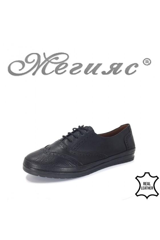 8105 Дамски обувки с връзки черни от естествена кожа