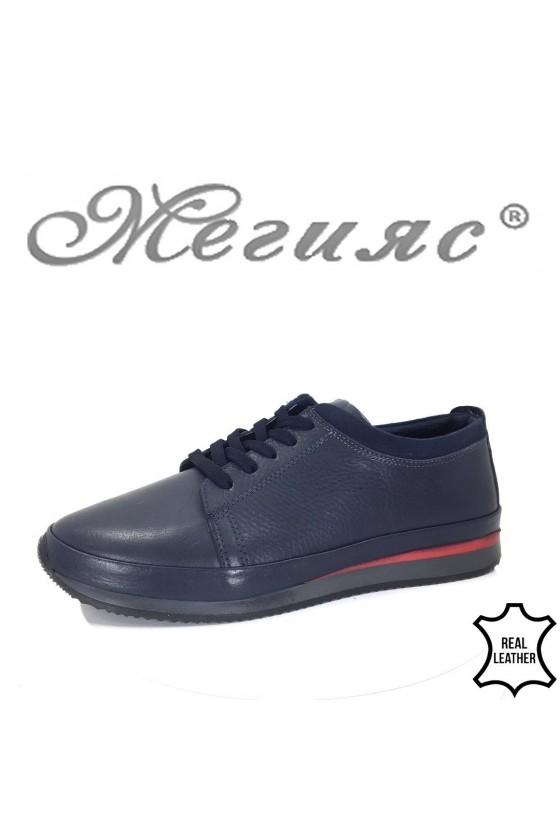 150-011 Мъжки обувки сини от естествена кожа