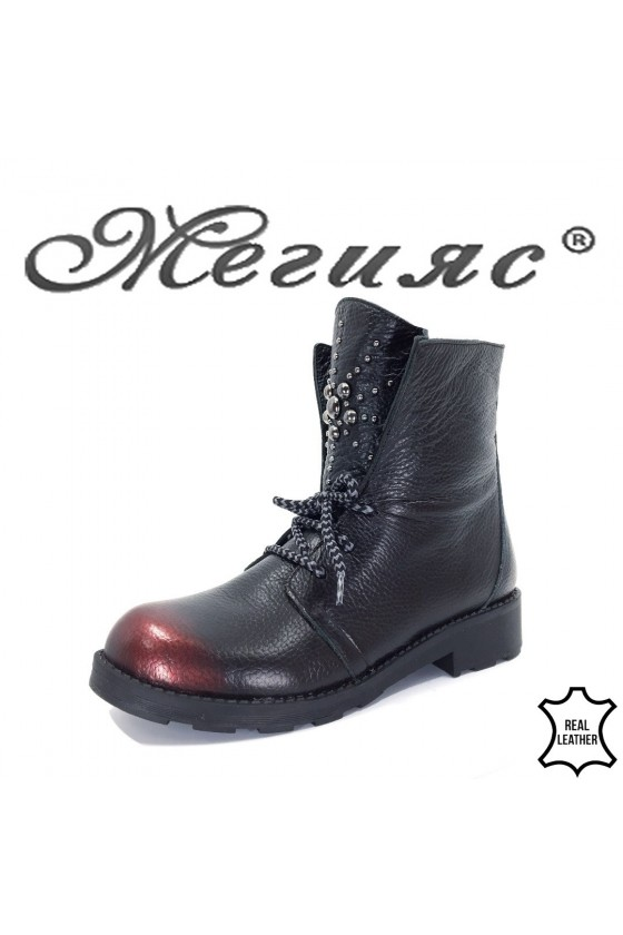 9050 Lady boots black with bordo leather