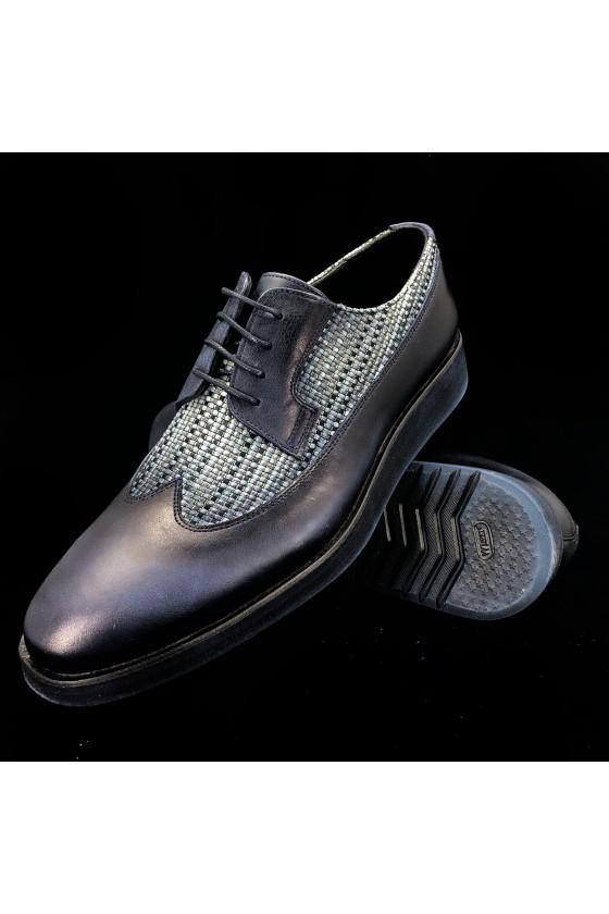 """830 27 Мъжки обувки """"Оксфорд"""" тъмно сини от естествена кожа"""