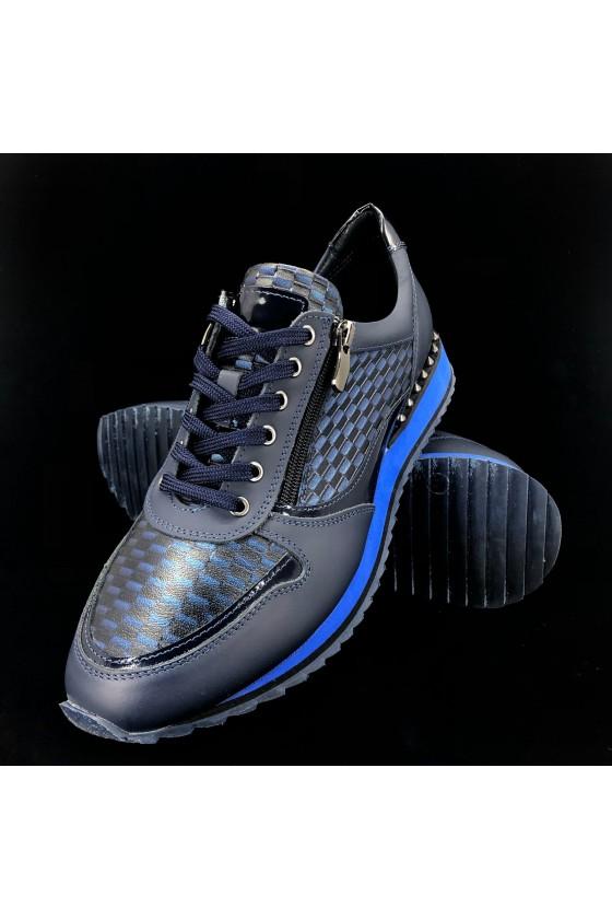 """830 27 Мъжки обувки """"Блу Марин"""" тъмно сини от естествена кожа"""