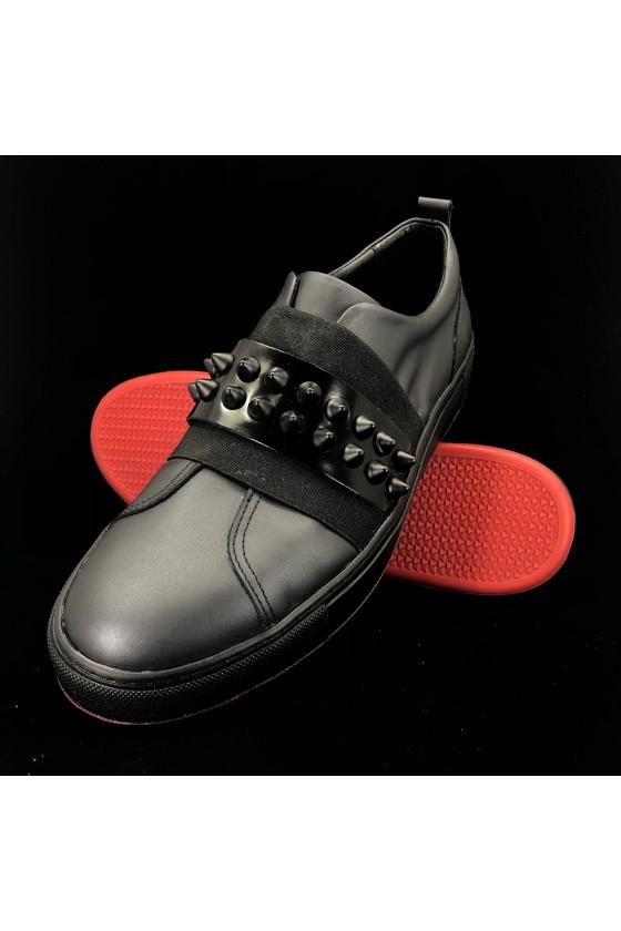 """829-1 01 Мъжки обувки """"MM"""" черни с капси от естествена кожа"""