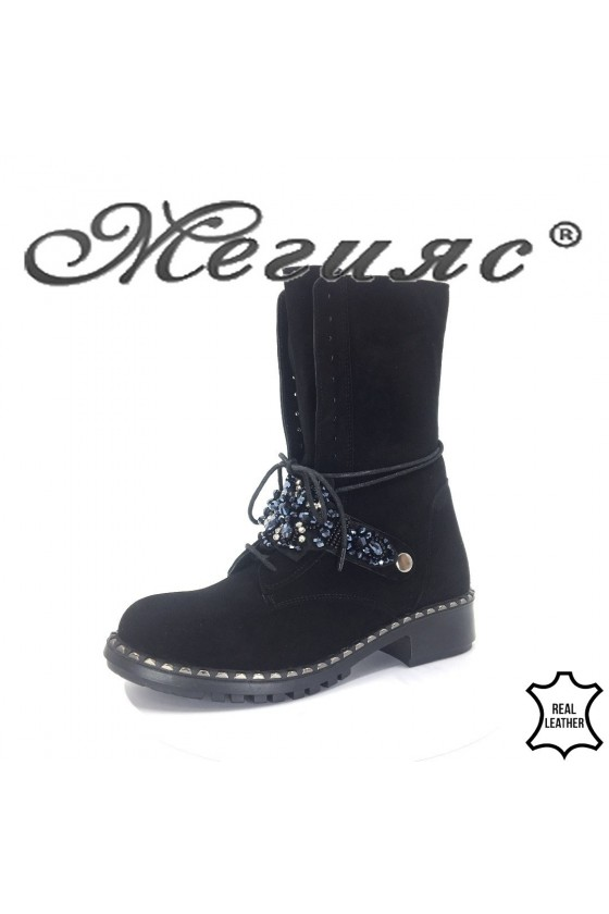 623-300  Lady boots black sued