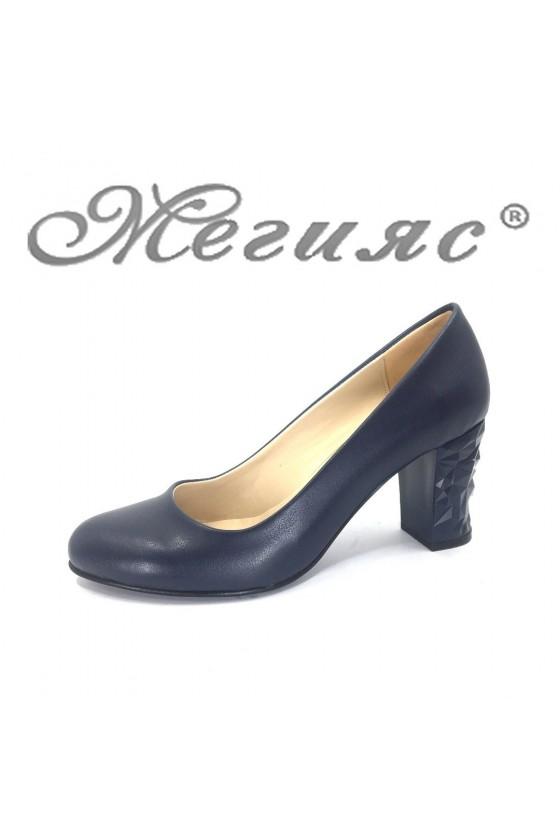 991 Дамски обувки тъмно сини мат с широк ток от еко кожа