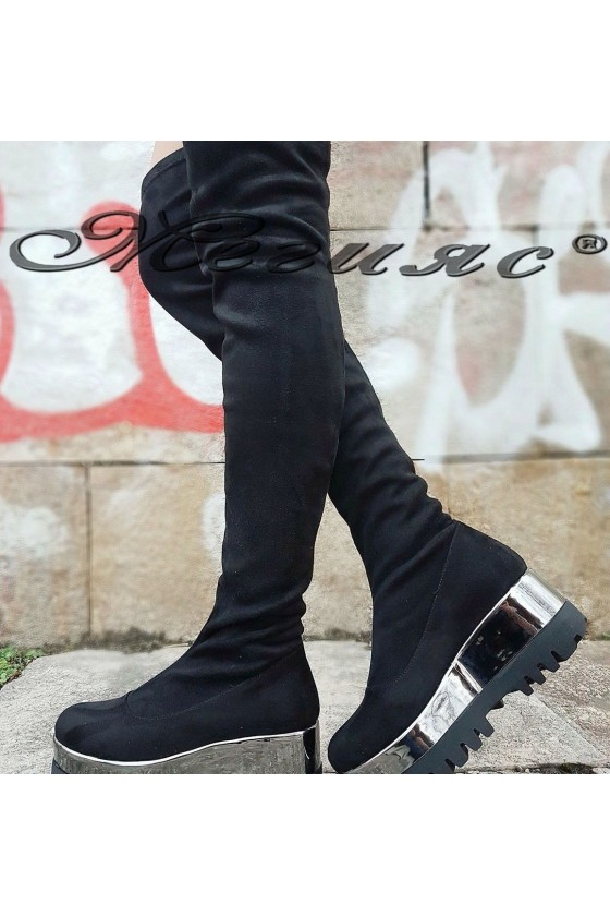 135-К Women long boots black/silver suede