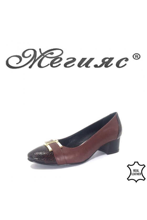 13-3-11 Дамски обувки бордо от естествена кожа и лак с широк ток