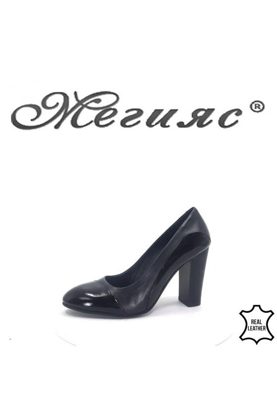 61-1-5 Дамски обувки черни кожа с лак елегантни на широк ток