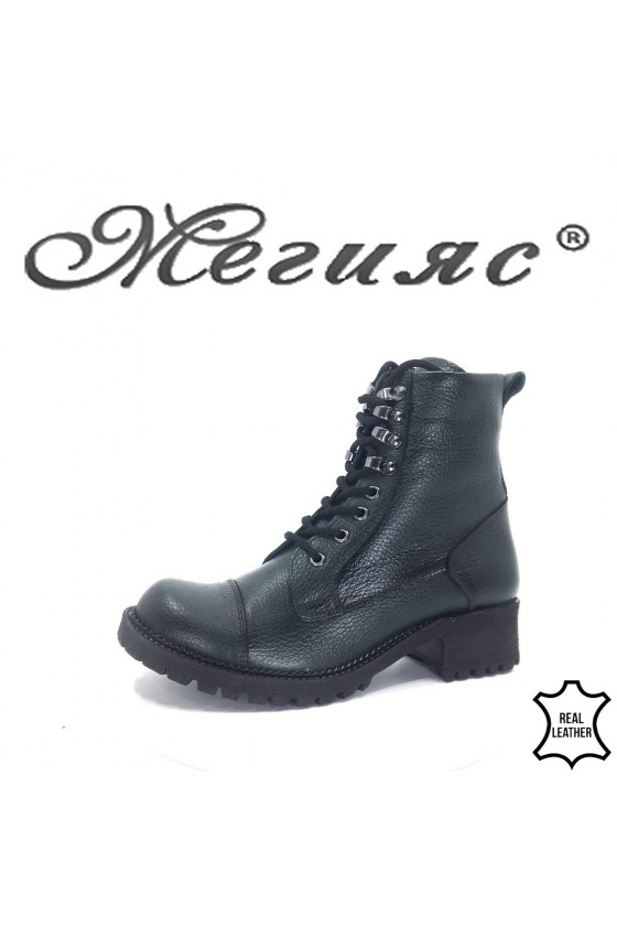 101 Lady boots dk.  green leather