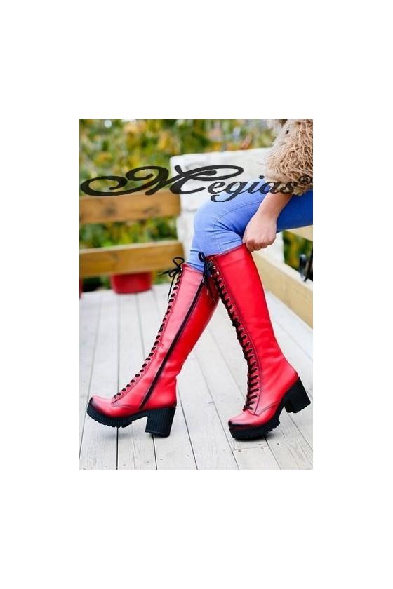 17049 Women long boots red pu
