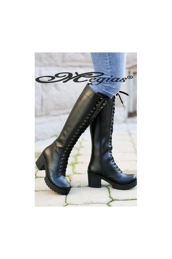 17049 Women long boots black pu