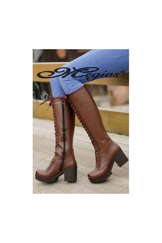 17049 Women long boots brown pu