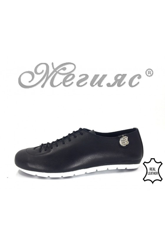 Women sport shoes 3116 black leather