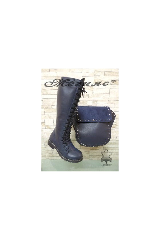 602-301  Women boots blue leather with bag 1961 blue  pu