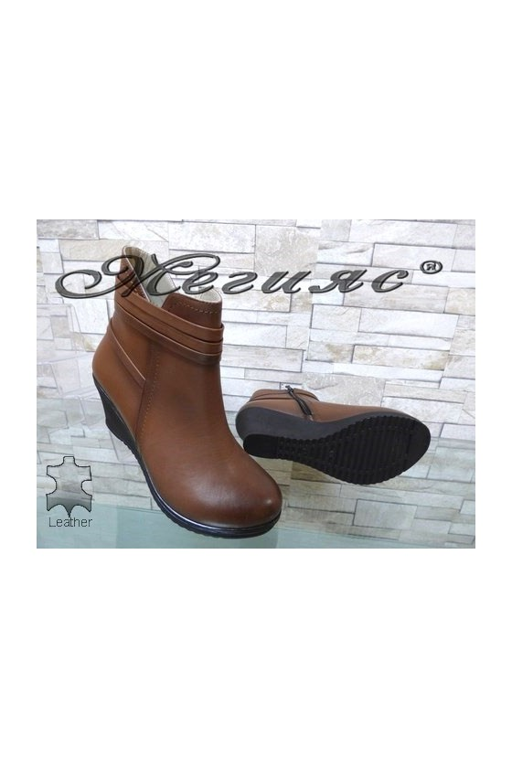 0196 Women boots taba/brown leather