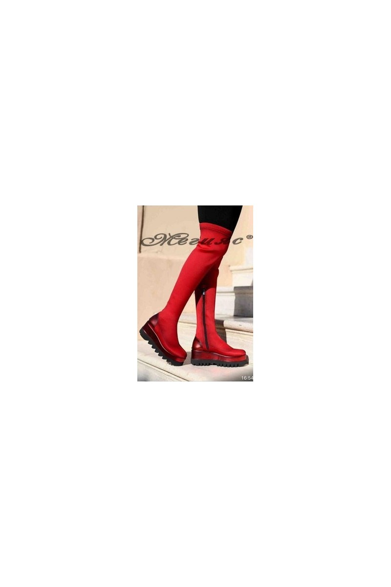 1930 Women long boots red textile